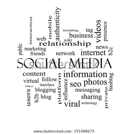Social Media Word Cloud Concept in black and white with great terms such as network, follow, content and more. - stock photo