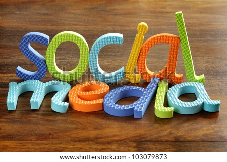 Social media written in foam letters concept for social networking within youth culture - stock photo