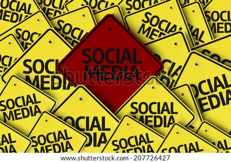 Social Media written on multiple road sign  - stock photo