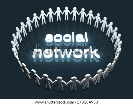 Social Network. A group of icon people standing in a circle. - stock photo