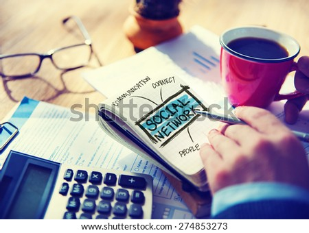 Social Network Accounting Office Working Home Writing Concept - stock photo