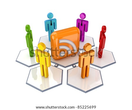 Social network and RSS symbol. 3d rendered.Isolated on white background. - stock photo