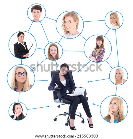 social network concept - business woman with laptop and her clients isolated on white background - stock photo