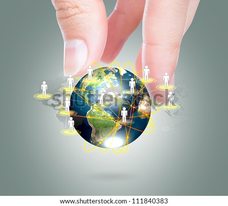 Social Network concept : hand hold earth of social network  (Elements of this image furnished by NASA) - stock photo
