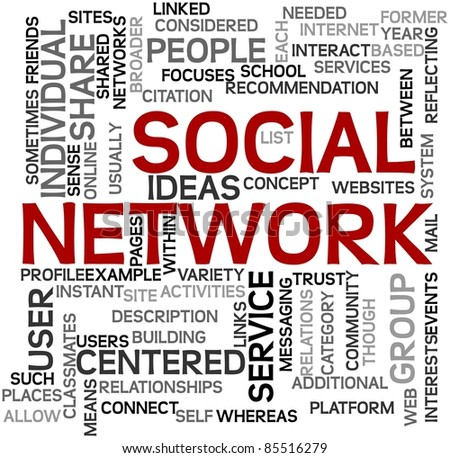 Social network concept in tag cloud on white - stock photo