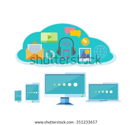 Social network. Concept of organisation business workflow through smartphone, laptop, digital tablet and computer. Social network, communication in the global computer networks. Raster version - stock photo