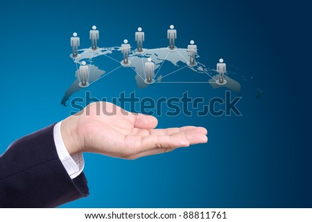 social network concept on hand - stock photo