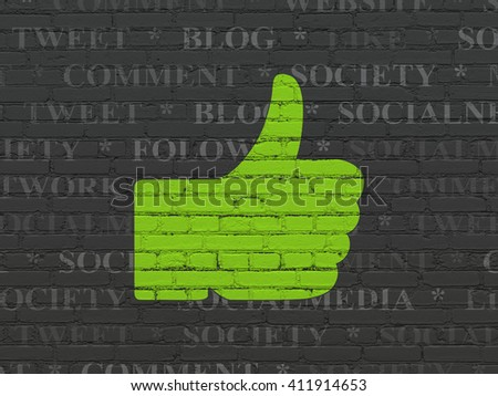 Social network concept: Painted green Thumb Up icon on Black Brick wall background with  Tag Cloud - stock photo