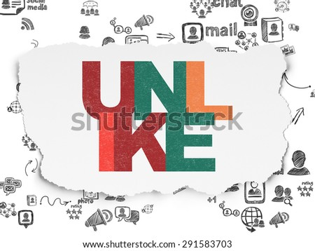 Social network concept: Painted multicolor text Unlike on Torn Paper background with Scheme Of Hand Drawn Social Network Icons, 3d render - stock photo