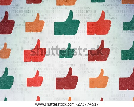 Social network concept: Painted multicolor Thumb Up icons on Digital Paper background, 3d render - stock photo