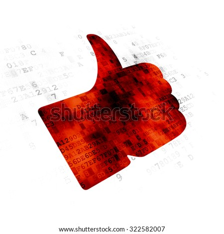 Social network concept: Pixelated red Thumb Up icon on Digital background - stock photo