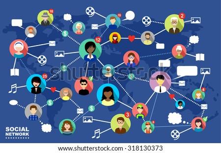 Social network. Concept. Raster illustration - stock photo
