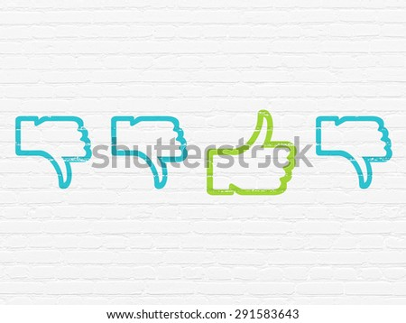 Social network concept: row of Painted blue thumb down icons around green thumb up icon on White Brick wall background, 3d render - stock photo