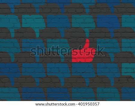Social network concept: rows of Painted blue thumb down icons around red thumb up icon on Black Brick wall background - stock photo