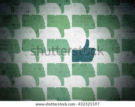 Social network concept: rows of Painted green thumb down icons around blue thumb up icon on Digital Data Paper background - stock photo