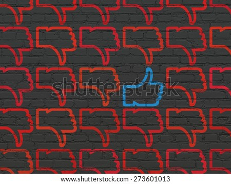 Social network concept: rows of Painted red thumb down icons around blue thumb up icon on Black Brick wall background, 3d render - stock photo