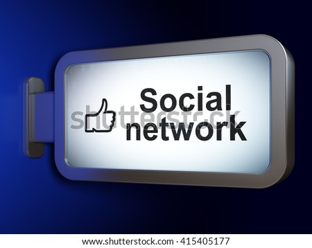 Social network concept: Social Network and Thumb Up on advertising billboard background, 3D rendering - stock photo