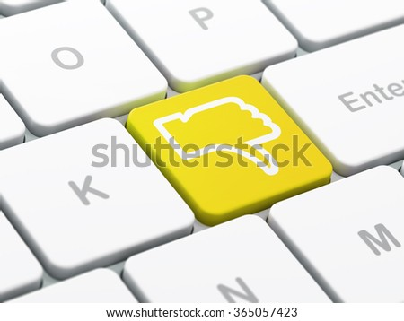 Social network concept: Thumb Down on computer keyboard background - stock photo