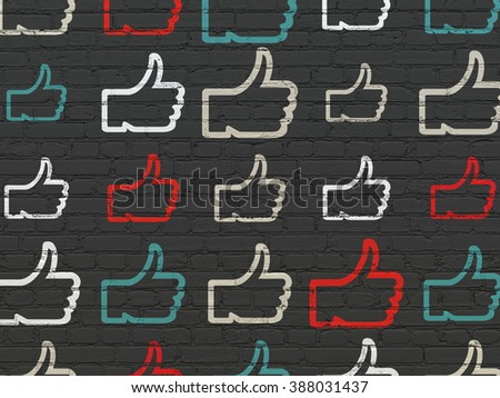 Social network concept: Thumb Up icons on wall background - stock photo