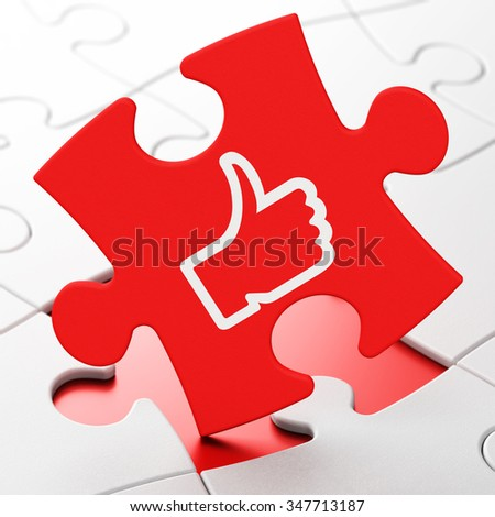 Social network concept: Thumb Up on Red puzzle pieces background, 3d render - stock photo