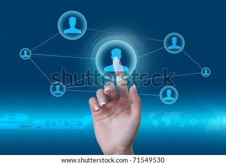 Social network concept. Touching the man icon in the future style virtual interface. - stock photo