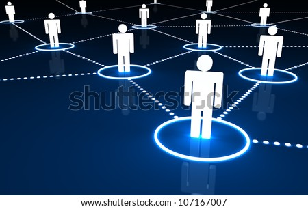 Social Network concept with connection of 3d people by dotted neon lines on dark blue background. - stock photo