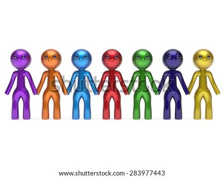 Social network friends character teamwork chain line people diverse friendship row individuality team seven different cartoon persons unity meeting icon concept colorful. 3d render isolated - stock photo