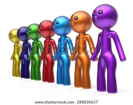 Social network human resources character teamwork friends chain line people diverse friendship row individuality team seven different cartoon persons unity meeting concept colorful. 3d render isolated - stock photo