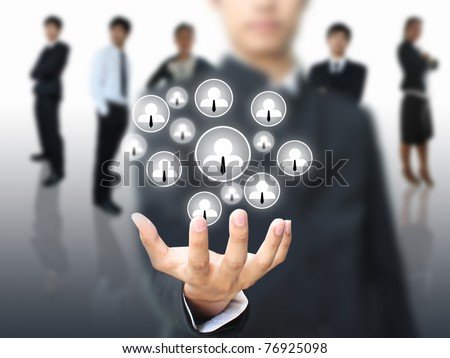 Social network in business hand - stock photo