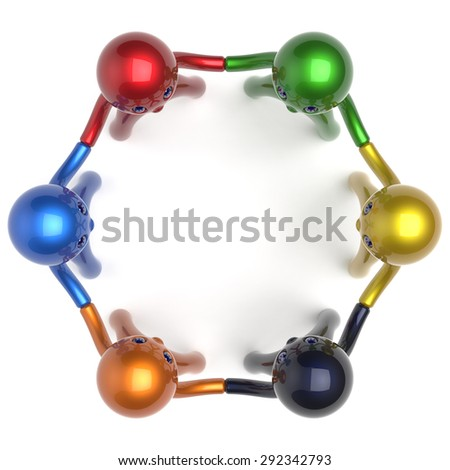 Social network individuality characters teamwork human resources circle people friendship team six different cartoon friends unity meeting icon concept colorful. 3d render isolated - stock photo
