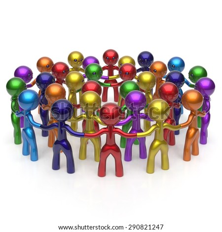 Social network large group people teamwork circle characters worldwide friendship individuality team different cartoon friends corporate human unity icon concept colorful. 3d render isolated - stock photo