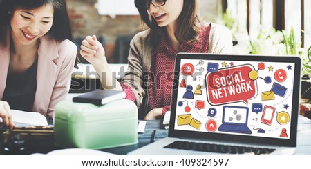 Social Network Media Communication Connection Concept - stock photo