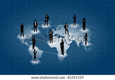 social network on world map - stock photo