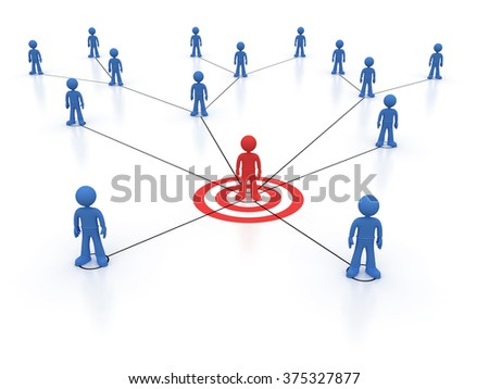 Social network one red character - stock photo