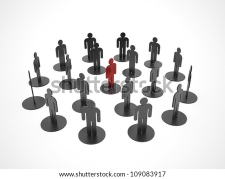 Social network rendered one man red on white background - stock photo