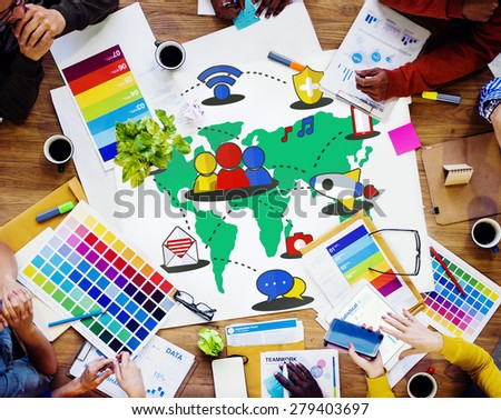 Social Network Sharing Global Communications Connection Concept - stock photo