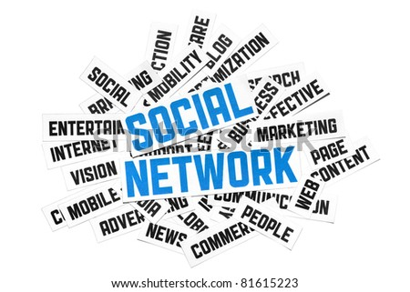 Social Network Sign. Cut pieces of paper with text on social network theme. Conceptual image made by word cloud technique. Isolated on white. - stock photo