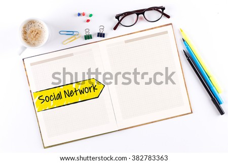 Social Network text on notebook with copy space - stock photo