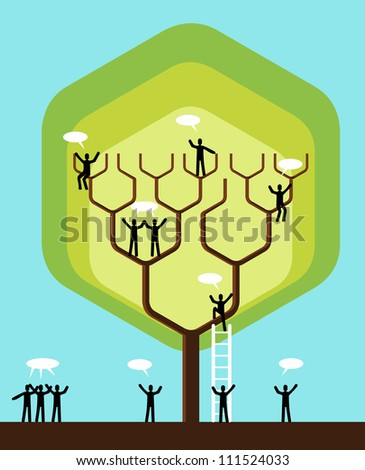 Social network tree business team structure. - stock photo