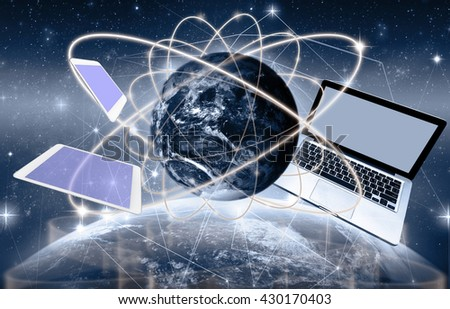 Social network with Technology device on world map and earth planet with network line and lens flare background, Elements of this image furnished by NASA, Business network concept - stock photo