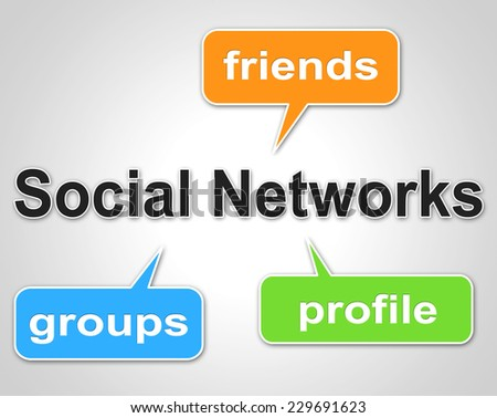 Social Network Words Showing Blogging Forums And Online - stock photo