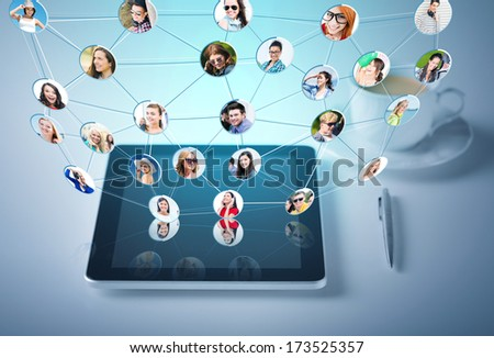 social networking, communication and technology concept - tablet pc with cup of coffee - stock photo