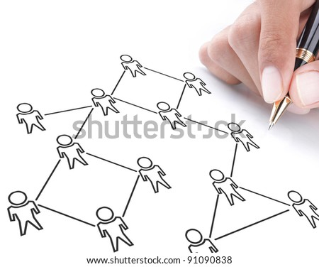 social networking concept drawn on white board - stock photo