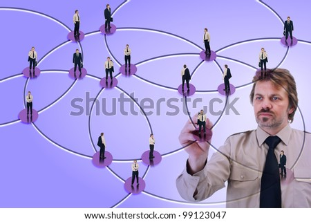 Social networking used for business marketing purposes - stock photo