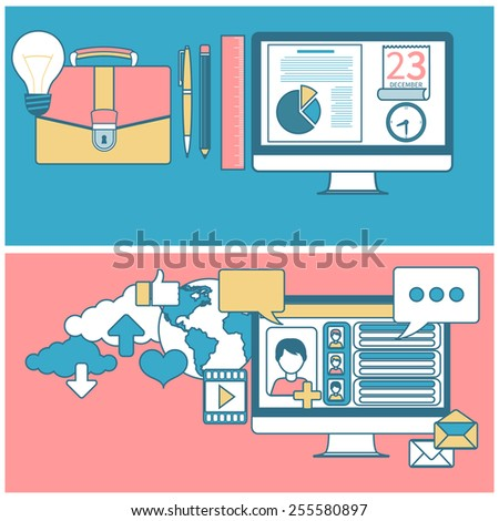 Social networks. Cloud of application icons. Set for web and mobile applications of social media. Business concept in flat design for time to work and work process. Raster version - stock photo