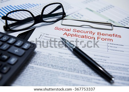 Social Security Benefits Application Form - stock photo