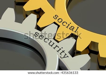 Social Security concept on the gearwheels, 3D rendering - stock photo