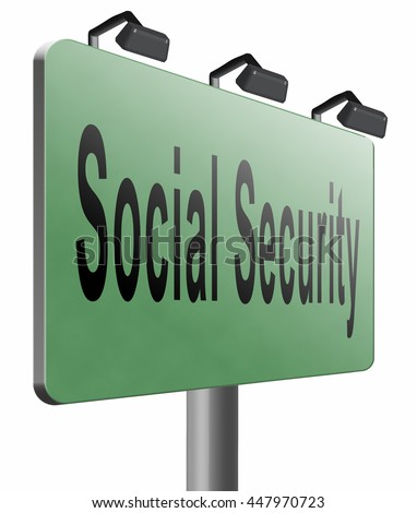Social security services benefit plans for retirement healthcare disability and unemployment, 3D illustration, isolated on white    - stock photo