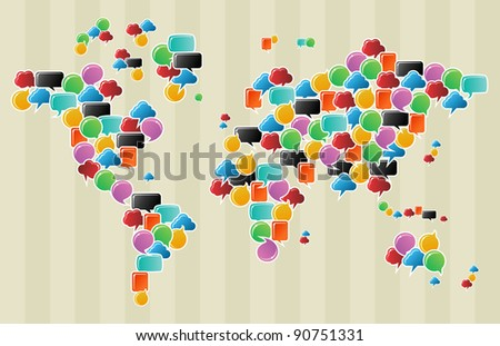 Social speech bubbles in different colors and forms in globe world map illustration. Vector file available. - stock photo