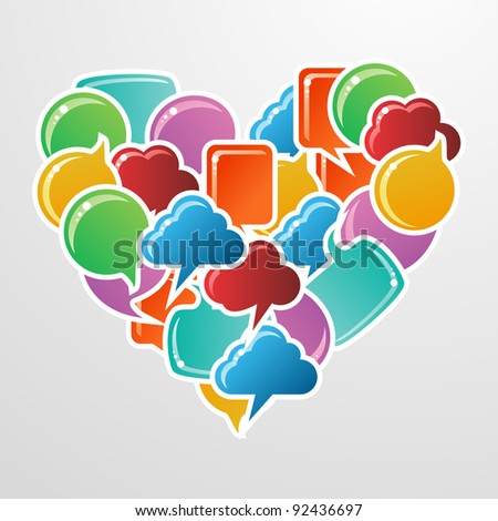 Social speech bubbles in different colors and forms in heart shape illustration. - stock photo